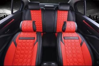 Тапицерия Комплект Лукс Червена Кожена универсална / калъфи за седалки