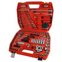 121 части - Комплект инструменти 1/2 , 3/8 , 1/4 тресчотки вложки, битове, скоби, шестограми - Neilsen Tools
