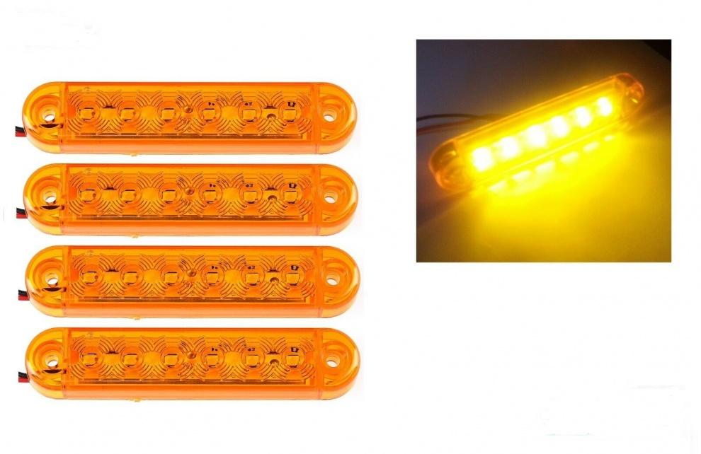 ЛЕД LED Оранжев Диоден Маркер Габарит Токос със 6 светодиода за камион ремарке бус ван 12V-24V