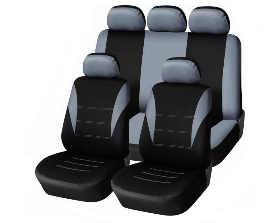 Универсална сива тапицерия (калъфи) за седалки - пълен комплект