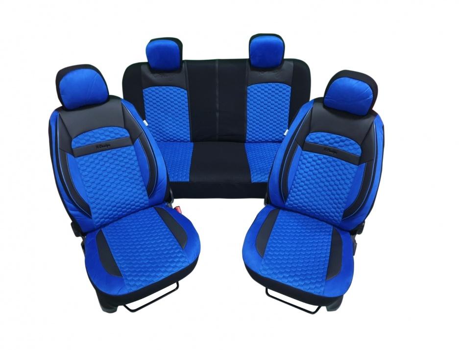 Пълен комплект DELUXE тапицерия/калъфи от еко кожа и текстил - синьо и черно