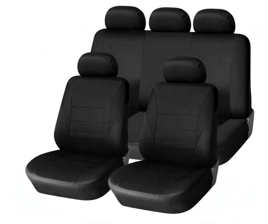 Универсална черна тапицерия (калъфи) за седалки - пълен комплект