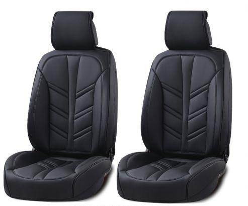 Лукс Универсална Кожена Тапицерия / Калъфи за предни седалки, черна