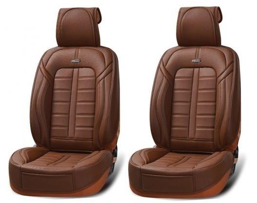 Лукс Универсална Кожена Тапицерия / Калъфи за предни седалки, цвят кафе