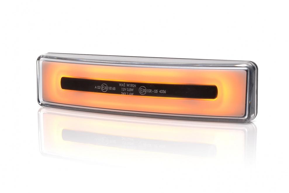 LED Светодиоден Габарит За Сенник На Скания Scania, С Букса, Оранжев, Е-Mark, Ефект Неон, 12V-24V