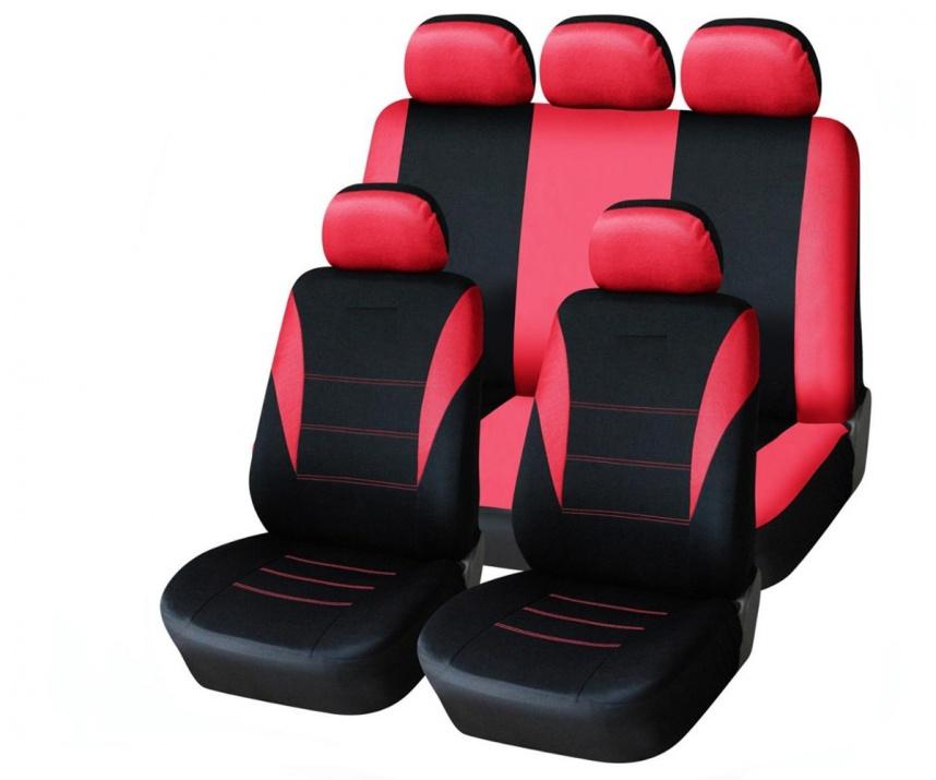 Универсална червена тапицерия (калъфи) за седалки - пълен комплект