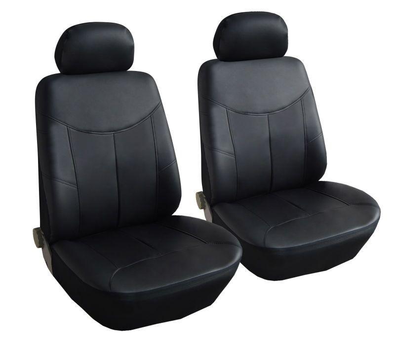 Универсални калъфи/тапицерия за предни седалки на автомобил от еко кожа - черни