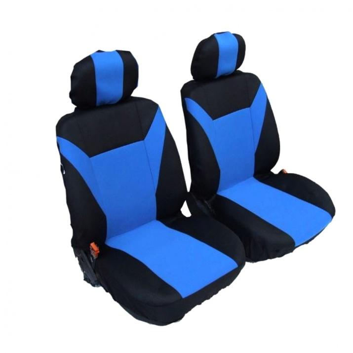 1+1 комплект универсални калъфи / тапицерия за предни седалки на автомобил - текстил - синьо черни