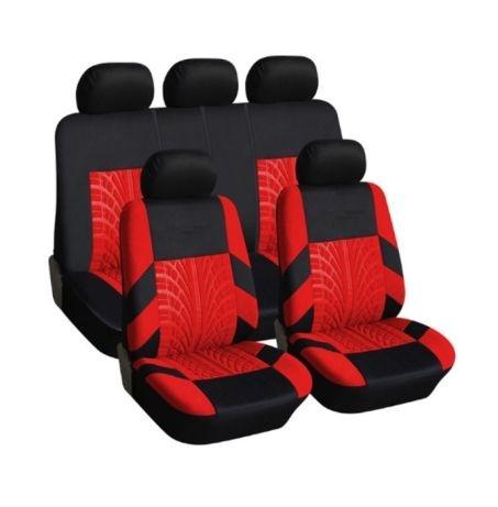 Универсална Авто тапицерия, калъфи за седалки, пълен комплект, 9 части, Червено-Черно