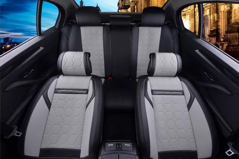 Лукс Комплект Сивo - Черна Кожена универсална тапицерия / калъфи за седалки