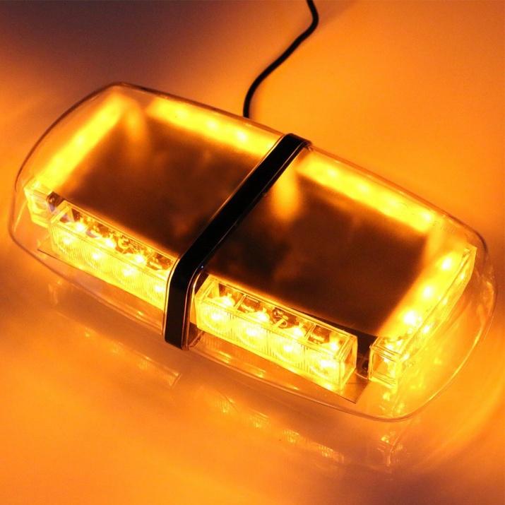 12V лед аварийна сигнална блиц лампа маяк с магнит за пътна помощ 24w