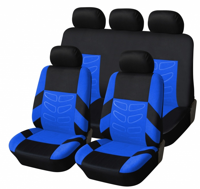 Универсална Авто тапицерия Kалъфи За Седалки Пълен Комплект 9 Части Синьо Черно