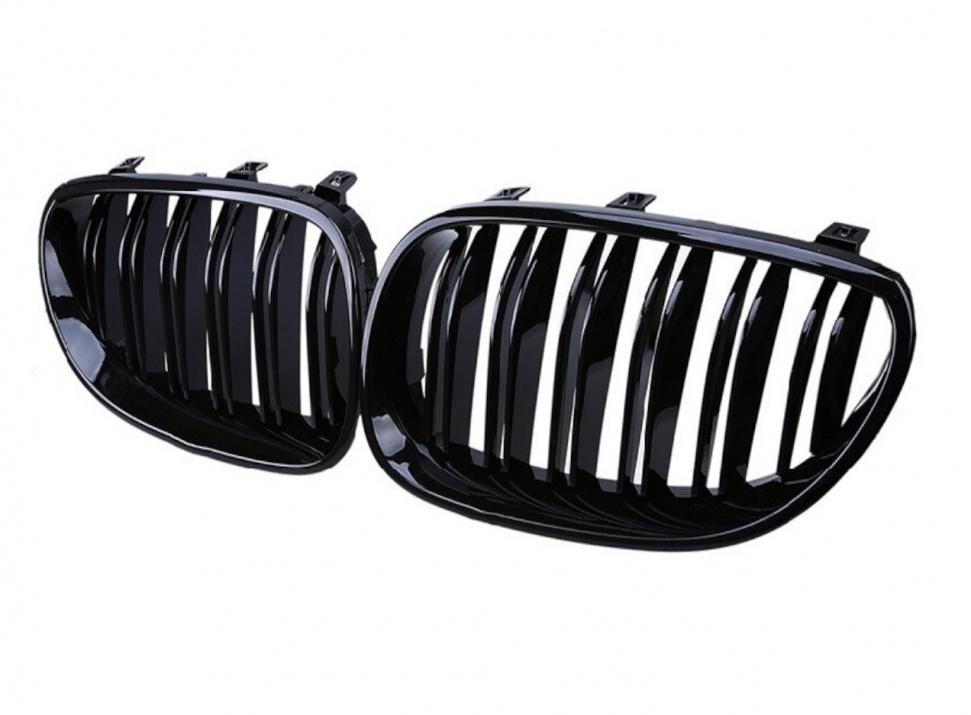 Двойни Бъбреци Решетки За БМВ BMW E60 E61 Черен Гланц Лак М5 Тип 2003 - 2011