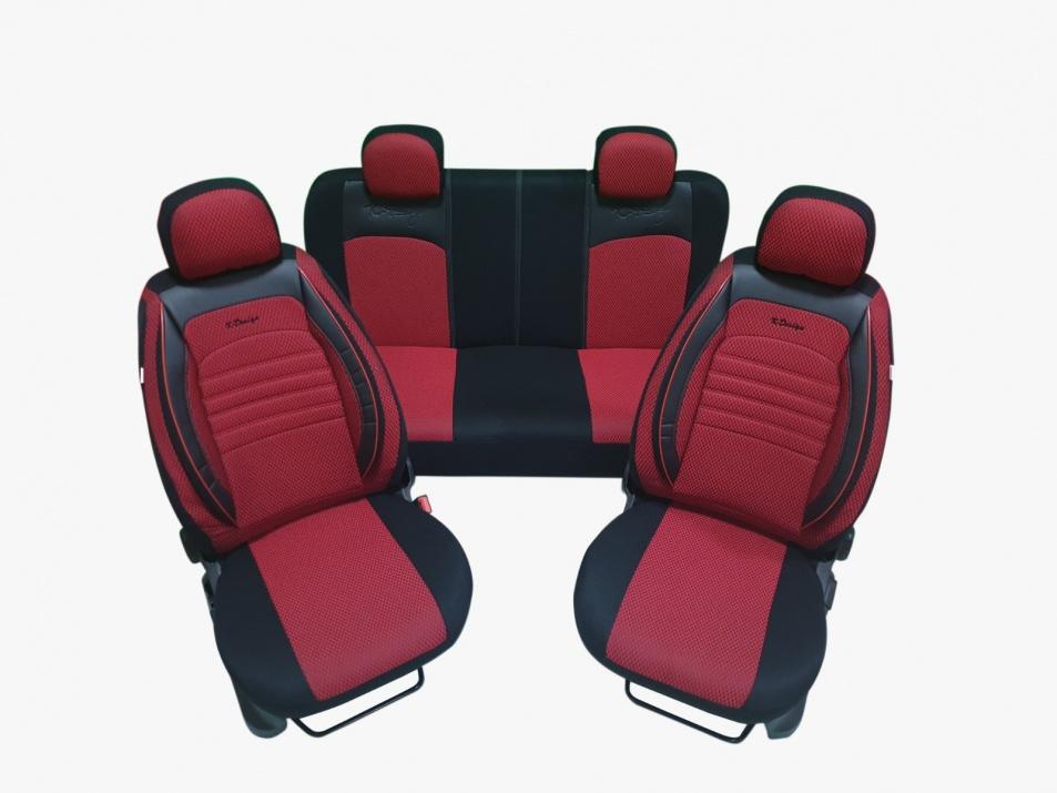 Пълен Комплект Калъфи За Авто Седалки Универсална Тапицерия Червено