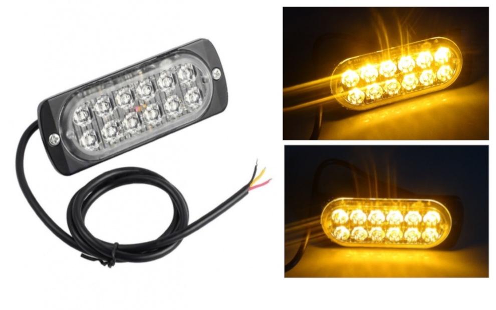 12 LED ЛЕД Аварийна Лампа За Пътна Помощ, Жълта Блиц Светлина, Мигаща!