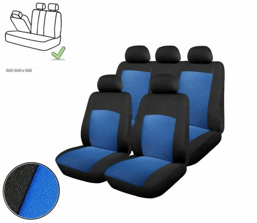 Универсална Авто тапицерия, калъфи за седалки, пълен комплект делима задна седалка с цип синя