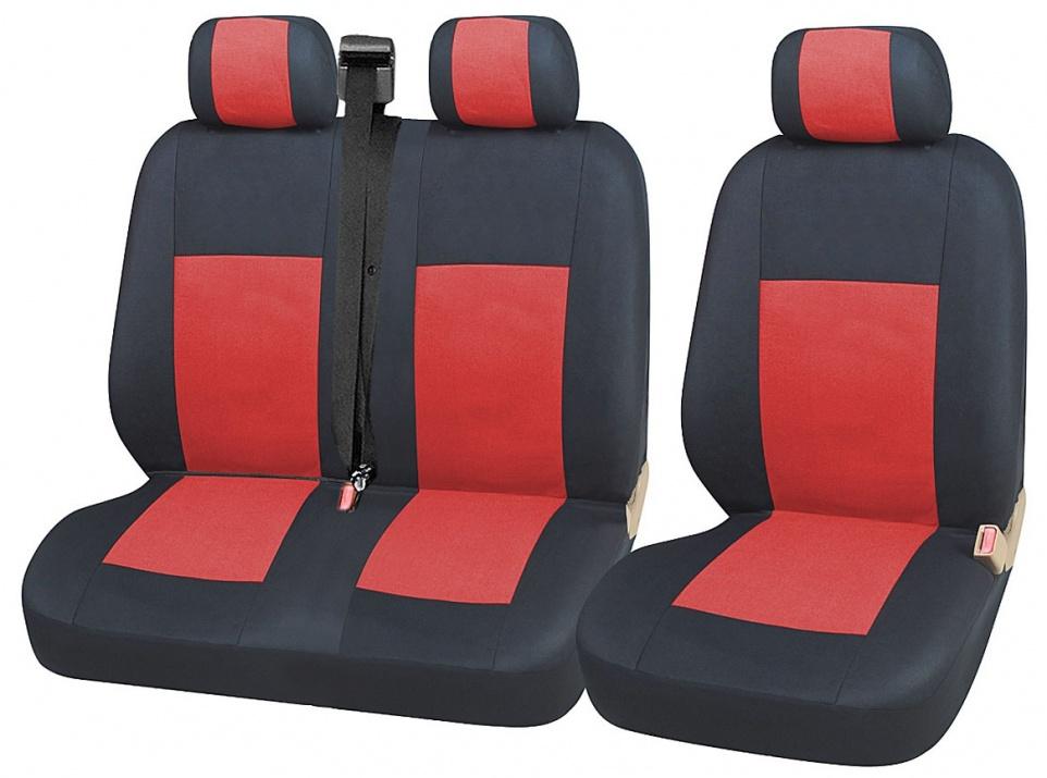 2+1 комплект универсални калъфи тапицерия за бус и микробус - Transit, Sprinter, Movano, Master, Crafter, Transporter, LT, Boxer, Jumper - черно и червено