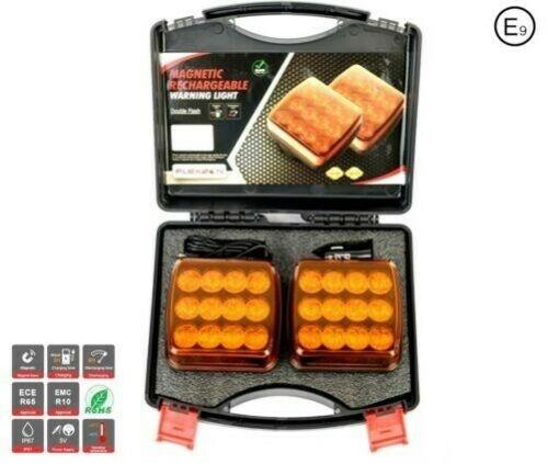 Безжични Wireless с Mагнит 12v 24v Лед Led Оранжеви Аварийни Светлини Блиц Светлина