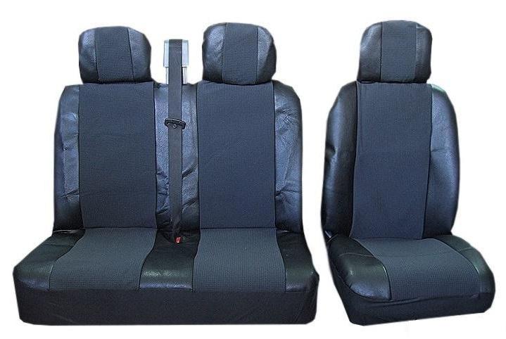 Универсални калъфи/тапицерия 2-1 за предни седалки Черни,Текстил/Еко кожа