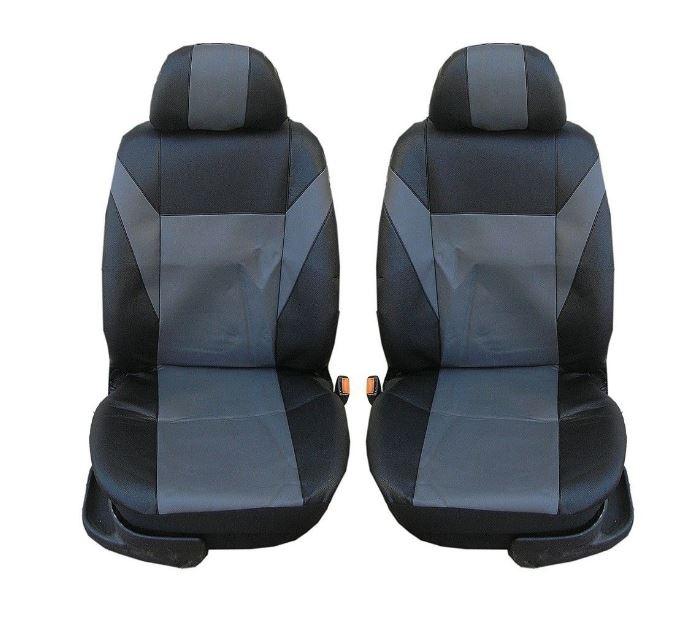 Универсални калъфи тапицерия за предни седалки, еко кожа, сиви