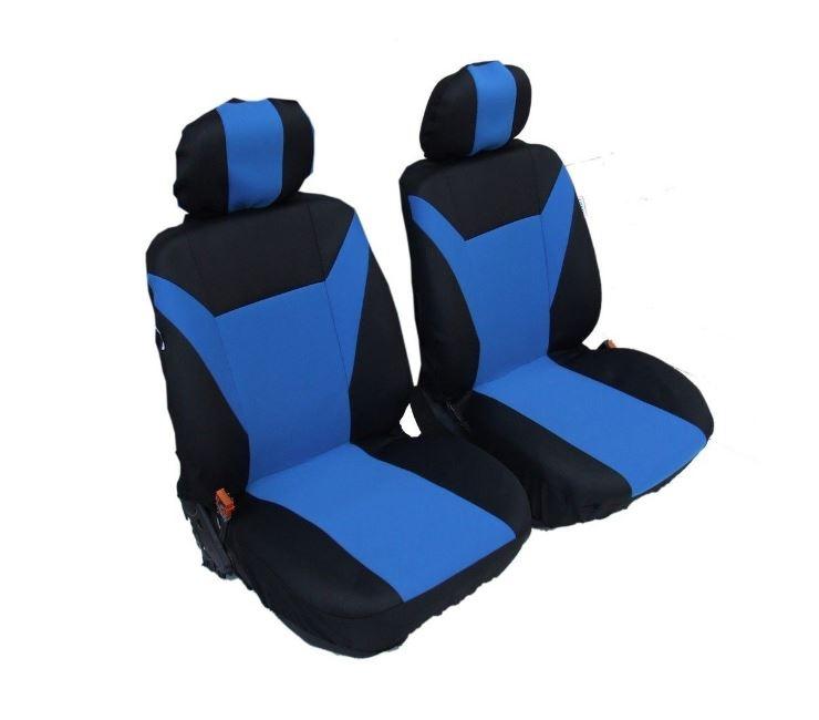 1+1 Универсални калъфи тапицерия за предни седалки Сини