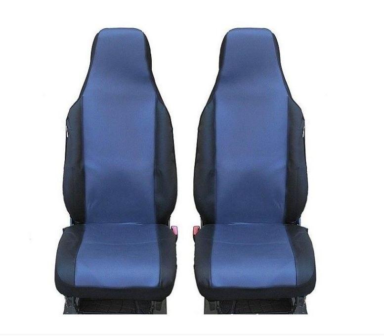 Универсални калъфи тапицерия за предни седалки bg7, сини със слят подглавник