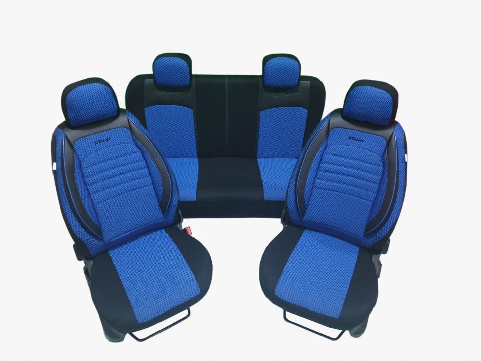 Пълен Комплект Лукс Калъфи За Авто Седалки Универсална Тапицерия Синьо