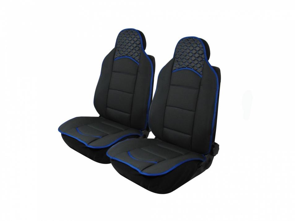 1+1 Комплект универсални калъфи тип масажор за предни седалки - черно със син конец - Еко Кожа и Текстил