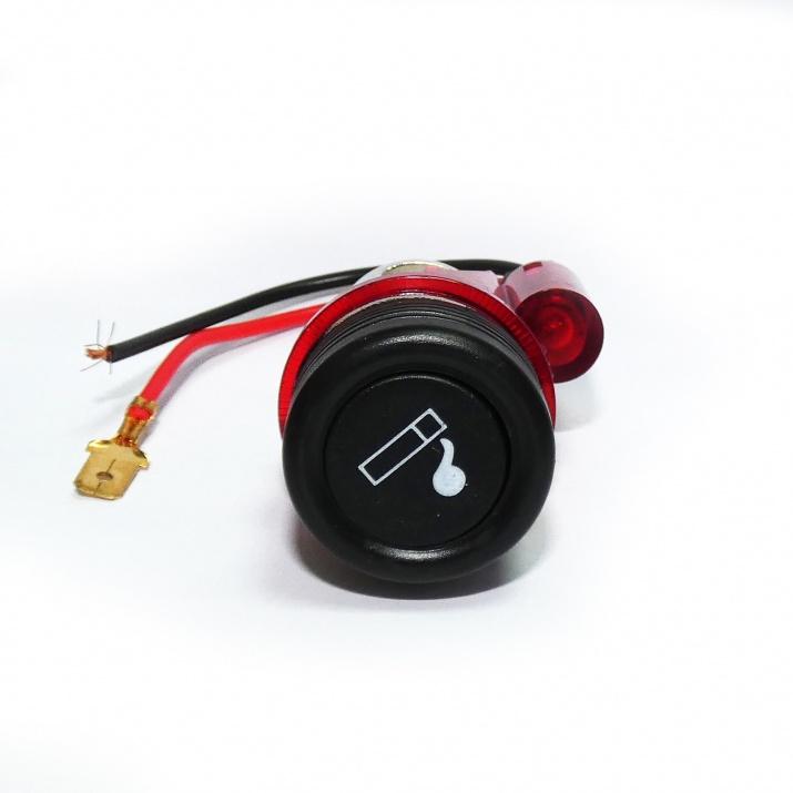 Универсална запалка за автомобил 12V с вградена светеща в червено светлина 28мм-29мм
