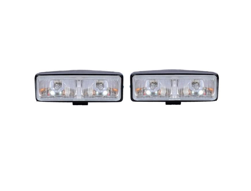 Комплект светлини - прозрачно и жълто - фар-габарит или фар-допълнителен мигач - подходящи за трактор, багер, комбайн и др - 16см х 6см