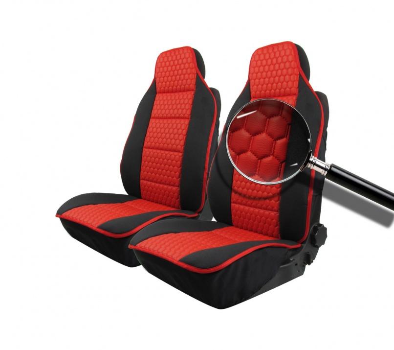 Комплект Универсална Тапицерия Тип Масажор 1+1 за Предни Седалки Лукс Черно - Червено, Еко Кожа