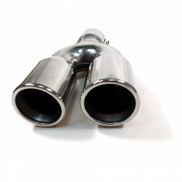 Универсален двоен накрайник за ауспух на автомобил, 35-55 мм, Дължина 21 см, Хром
