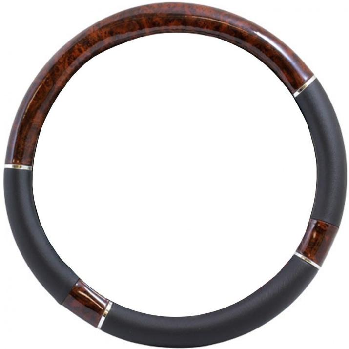 Универсален калъф за волан от еко кожа с махагон