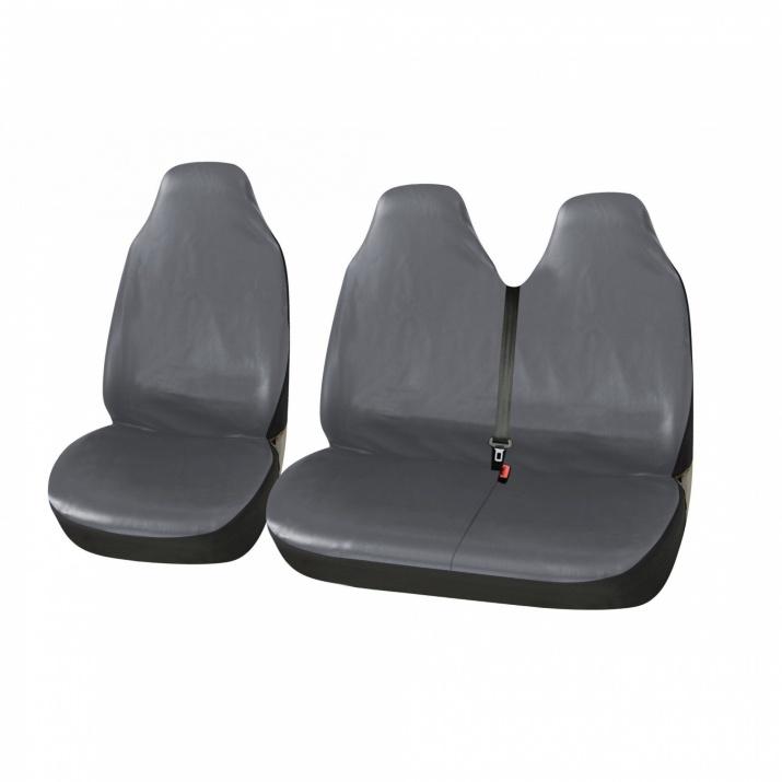 Универсални Калъфи/Тапицерия за предни седалки на бус/ван, Eко кожа, Сиви