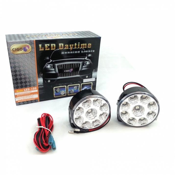 Кръгли дневни DRL LED светлни Cigo с 9 SMD диода, 2 броя