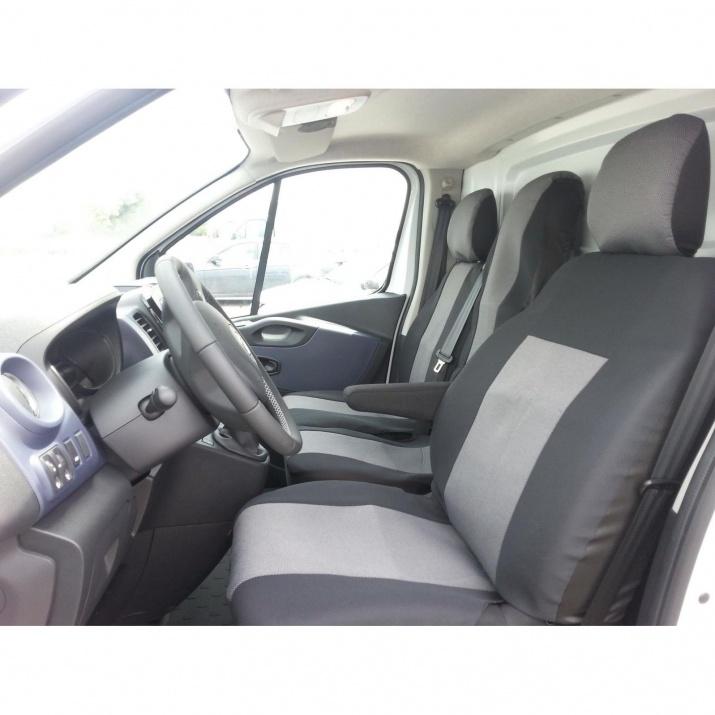 Премиум / лукс калъфи тапицерия за предни седалки за Opel Vivaro 2014+ / Renault Traffic, сиви