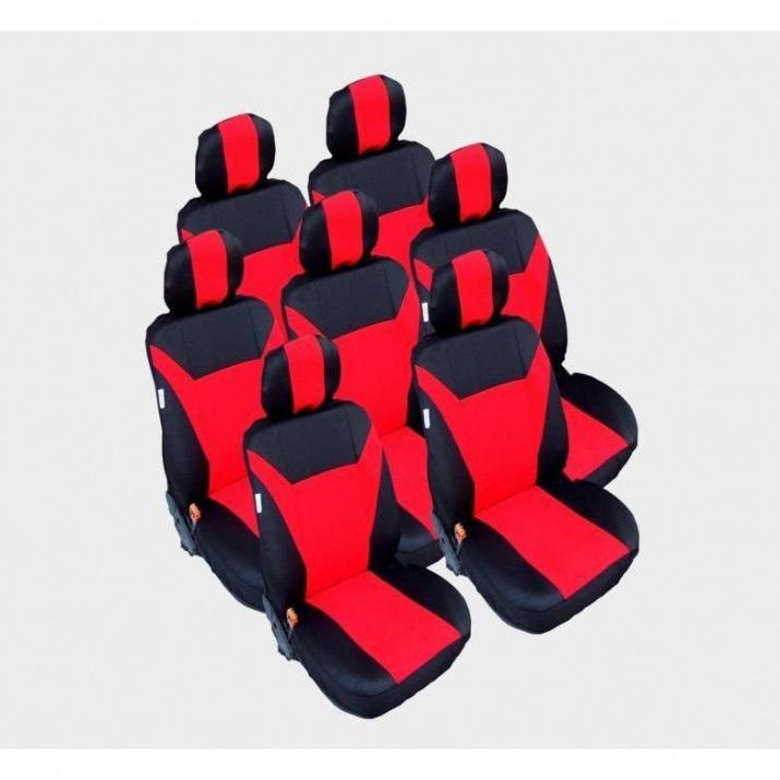 Калъфи/тапицерия за VW Touran, Sharan, Ford Galaxy, Citroen C8, Peugeot 307SW, Citroen C4 Grand Picasso, Peugeot 806, 807, Червен цвят