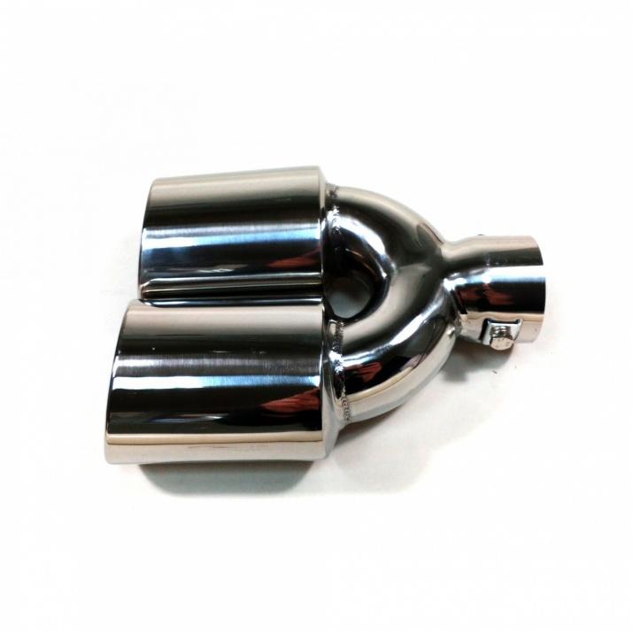 Универсален двоен накрайник за ауспух на автомобил, 35-55 мм, Дължина 20см