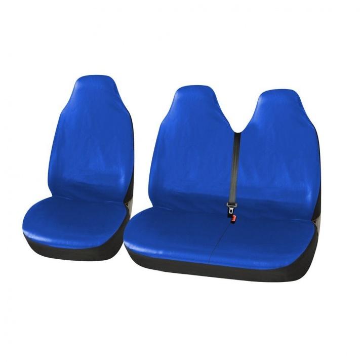 Универсални Калъфи/Тапицерия за предни седалки на бус/ван, Eко кожа, Сини