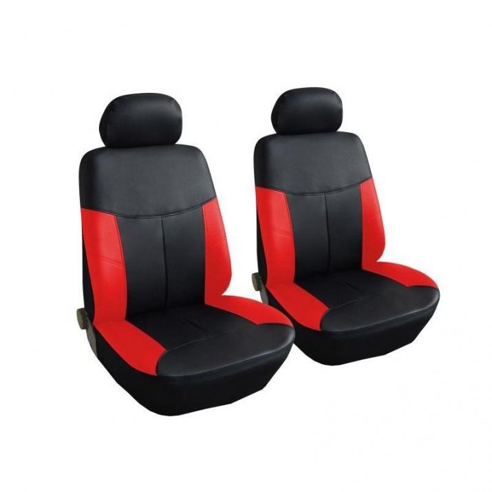 Универсални Калъфи/Тапицерия за предни седалки, Eко кожа, Червени