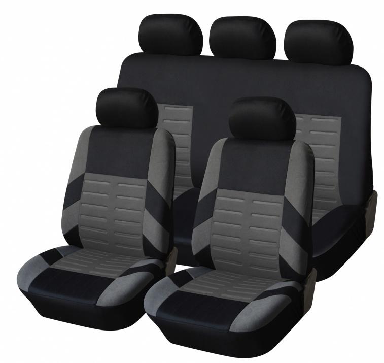 Универсална Авто тапицерия Kалъфи За Седалки Пълен Комплект 9 Части Сиво Черно