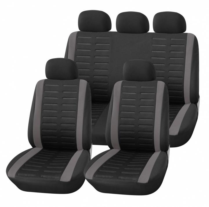 Универсална Авто тапицерия Kалъфи За Седалки Пълен Комплект 9 Части Сиво и Черно