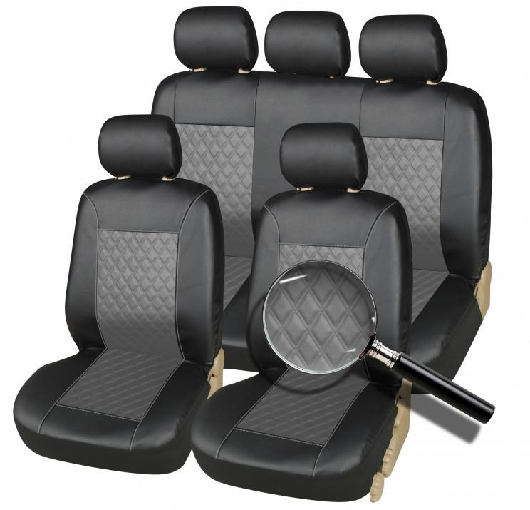 Комплект Калъфи/тапицерия за автомобил за предни и задни седалки, Еко кожа, Черно и Сиво