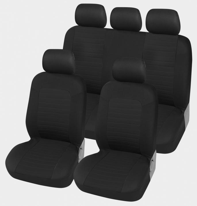 Универсална Авто тапицерия Kалъфи За Седалки Пълен Комплект 9 Части Черно