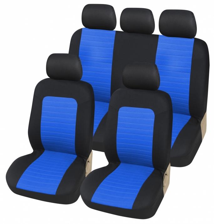 Универсална Авто тапицерия Kалъфи За Седалки Пълен Комплект 9 Части Черно Синьо