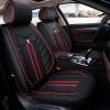 Универсална Тапицерия Кожа И Плат Калъфи за Предни Седалки Черно С Червена Бродерия Лукс