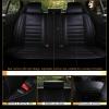Пълен Комплект Луксозни Калъфи за Седалки Универсална Кожена Тапицерия Черна Еко Кожа с Черен Шев