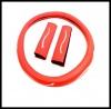 Комплект калъфи - Волан и Колани - изработени от еко кожа - диаметър на воалта 37-39см - червени